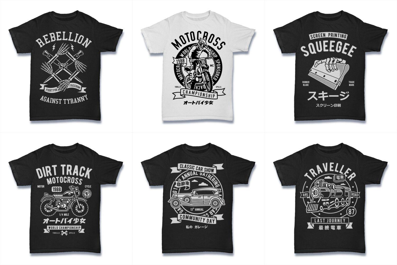 100  Vector Tshirt Designs ( B/W Concept ) example image 18