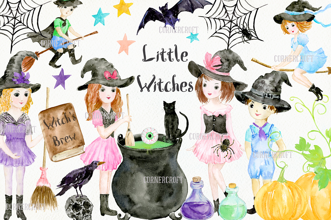 Little Witches Watercolor Design Kit example image 9