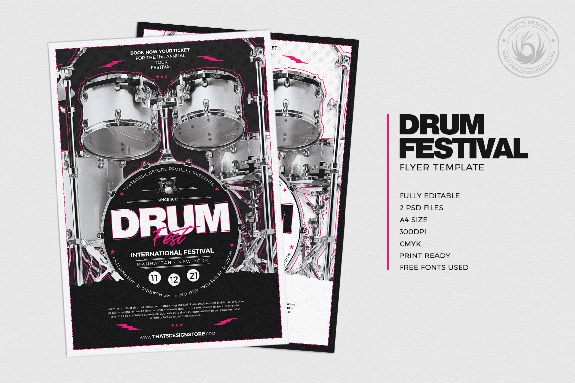 Drum Fest Flyer Template example image 2