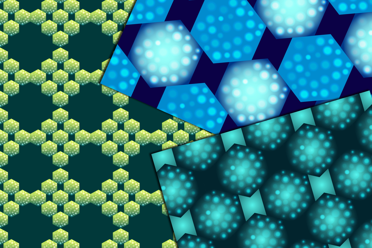 24 bright hexagons seamless patterns example image 5