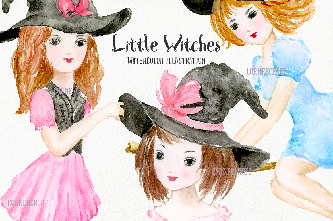 Little Witches Watercolor Design Kit example image 5