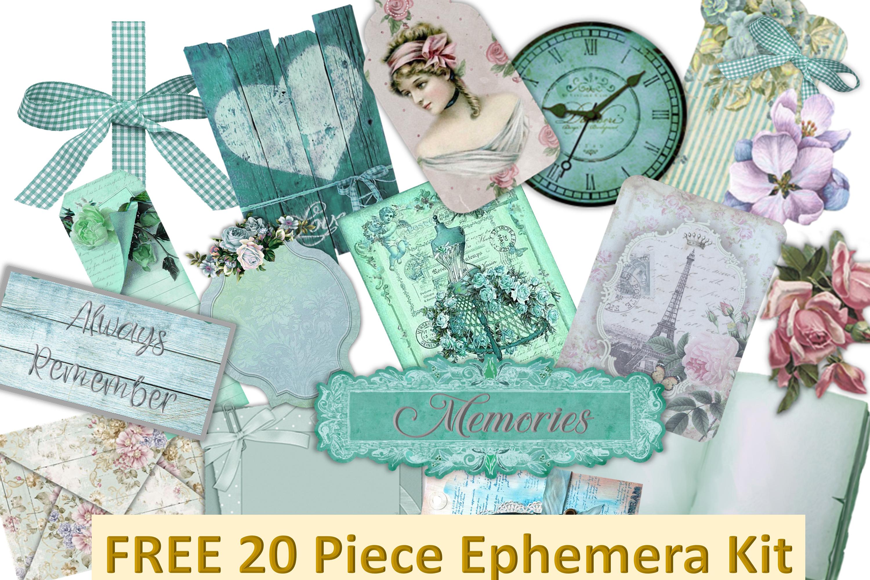 Vintage Victorian Backgrounds with Free Ephemera Kit. CU example image 2