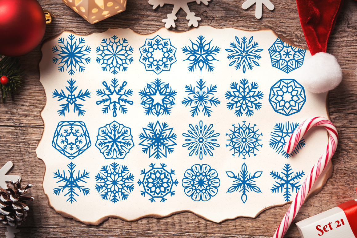 500 Snowflake Vector Ornaments example image 30