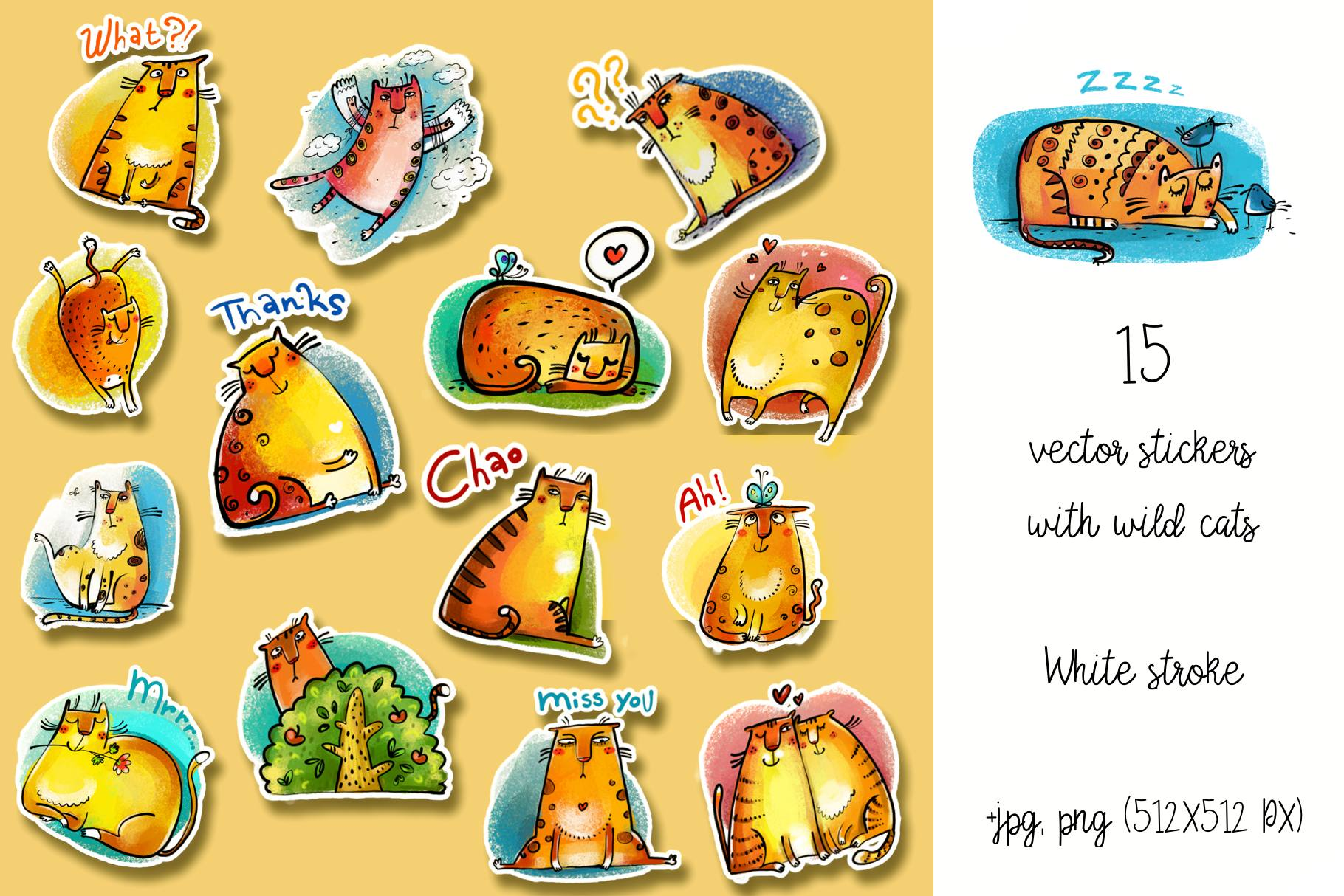 Wild Cats - sticker pack example image 2