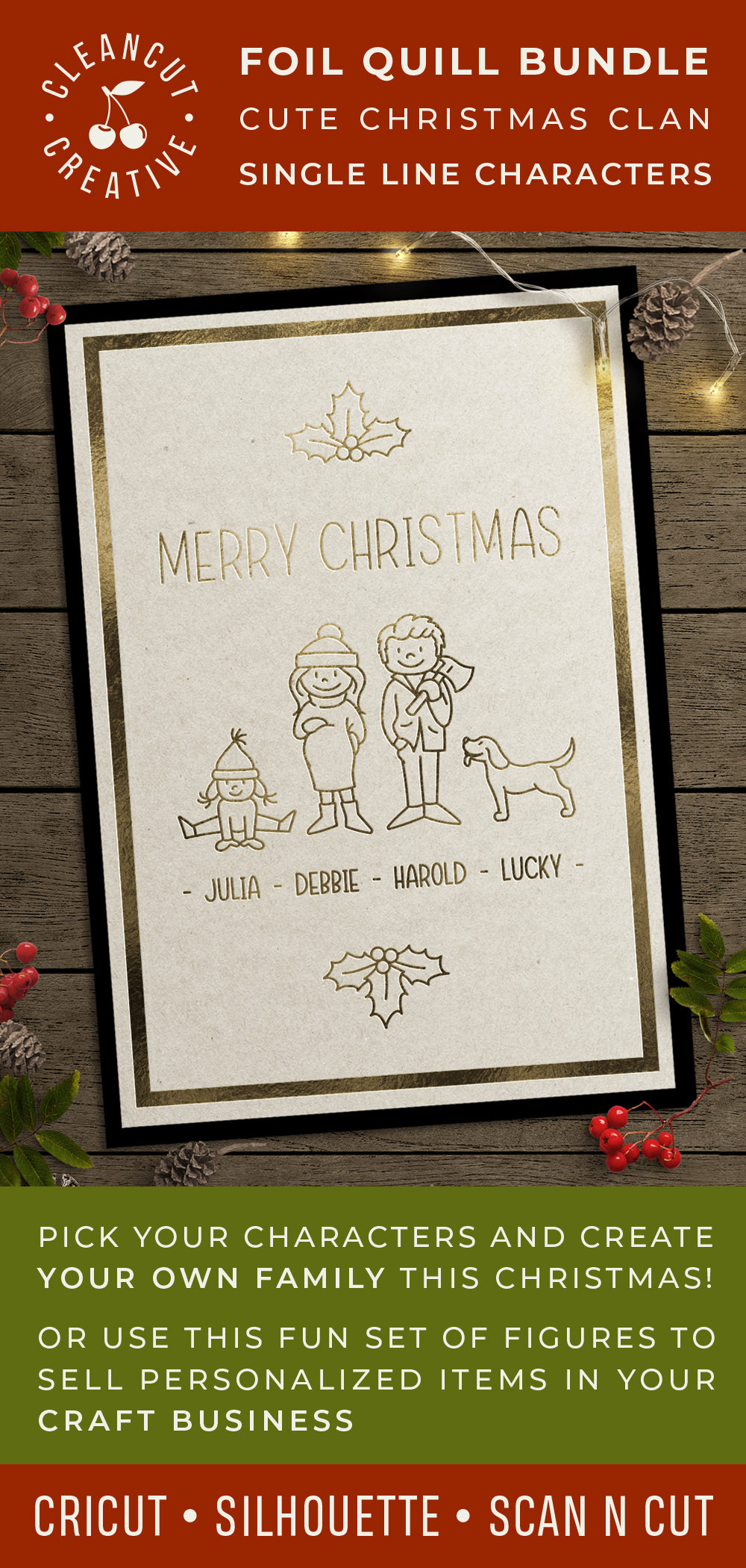 Foil Quill Edition - Cute Christmas Clan - family figures example image 5