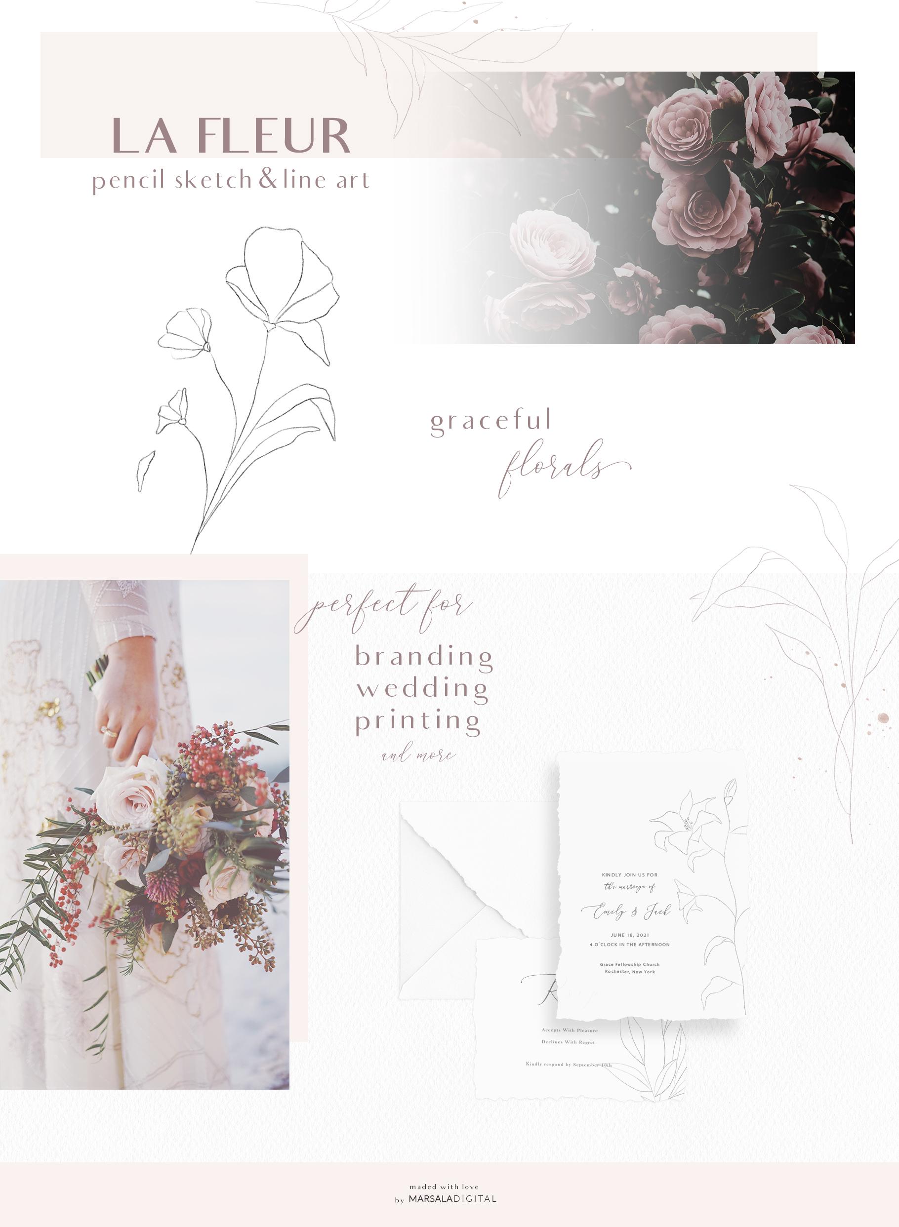 Floral Pencil Sketches Line Art - La fleur example image 2