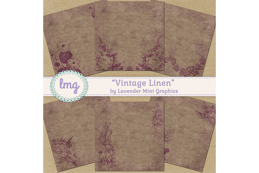 Vintage Linen Digital Papers example image 2