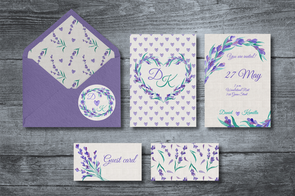 Watecolor Lavender Clip Art Set example image 2