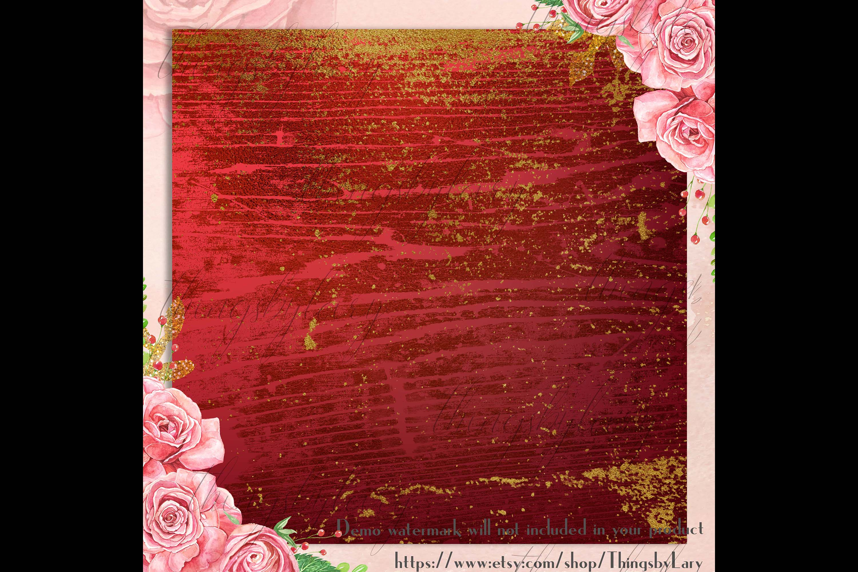 16 Distressed Red and Gold Artistic Painted Digital Papers example image 2