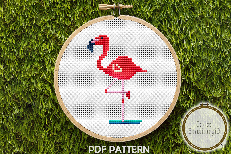 Flamingo Modern Cross Stitch Pattern- Instant Download PDF example image 1