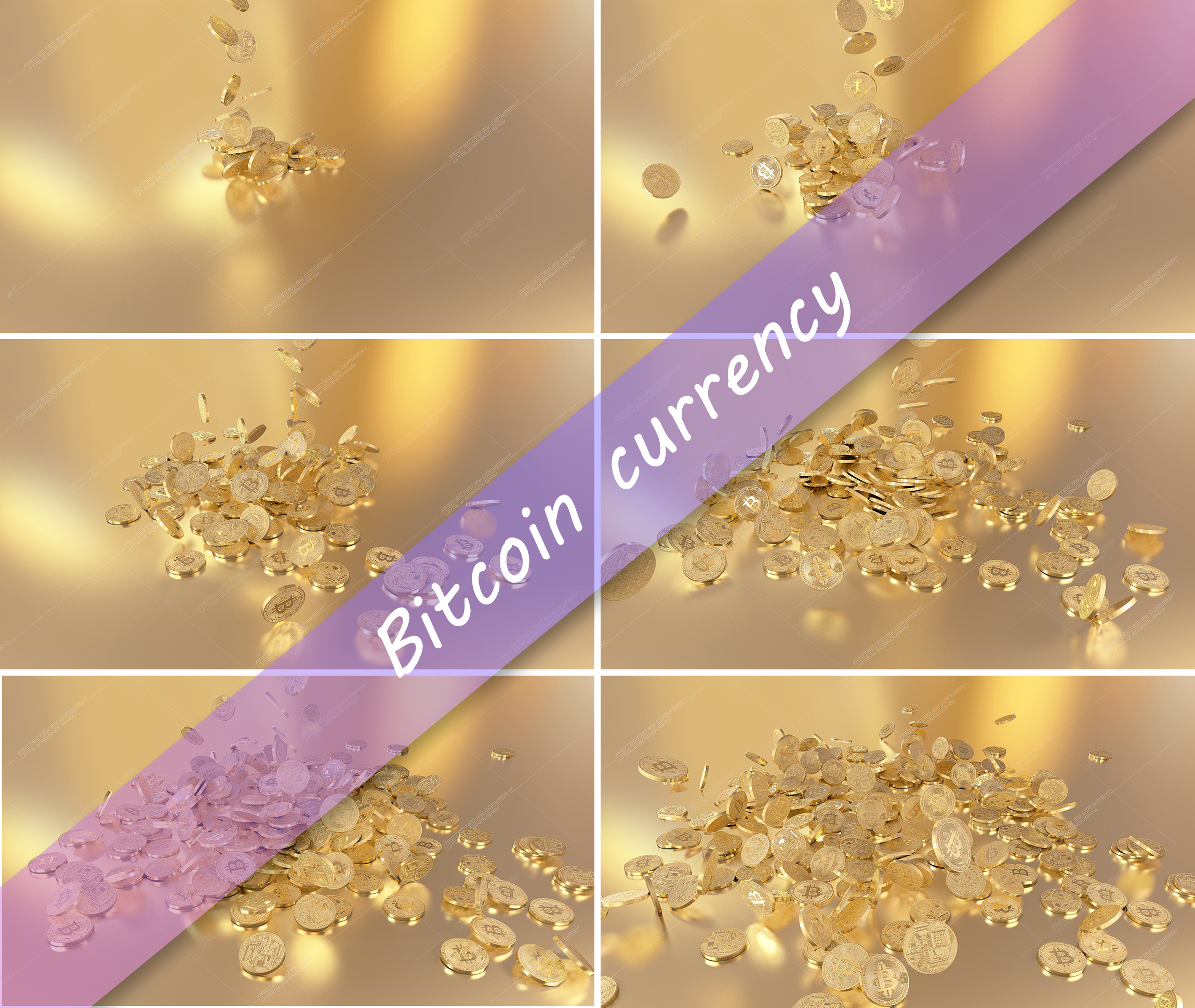 6  files - 3D rendering Bitcoins falling on a pile example image 1