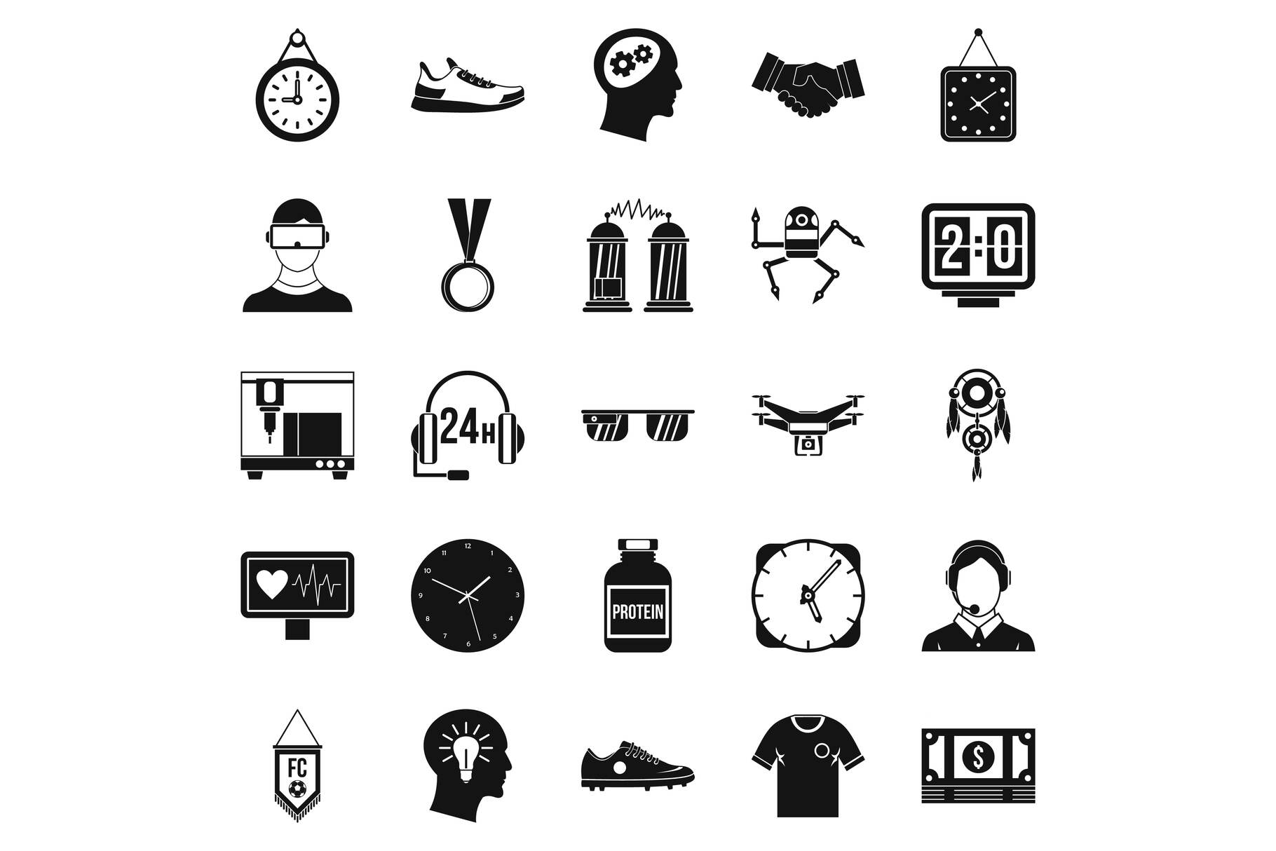 Ticker icons set, simple style example image 1