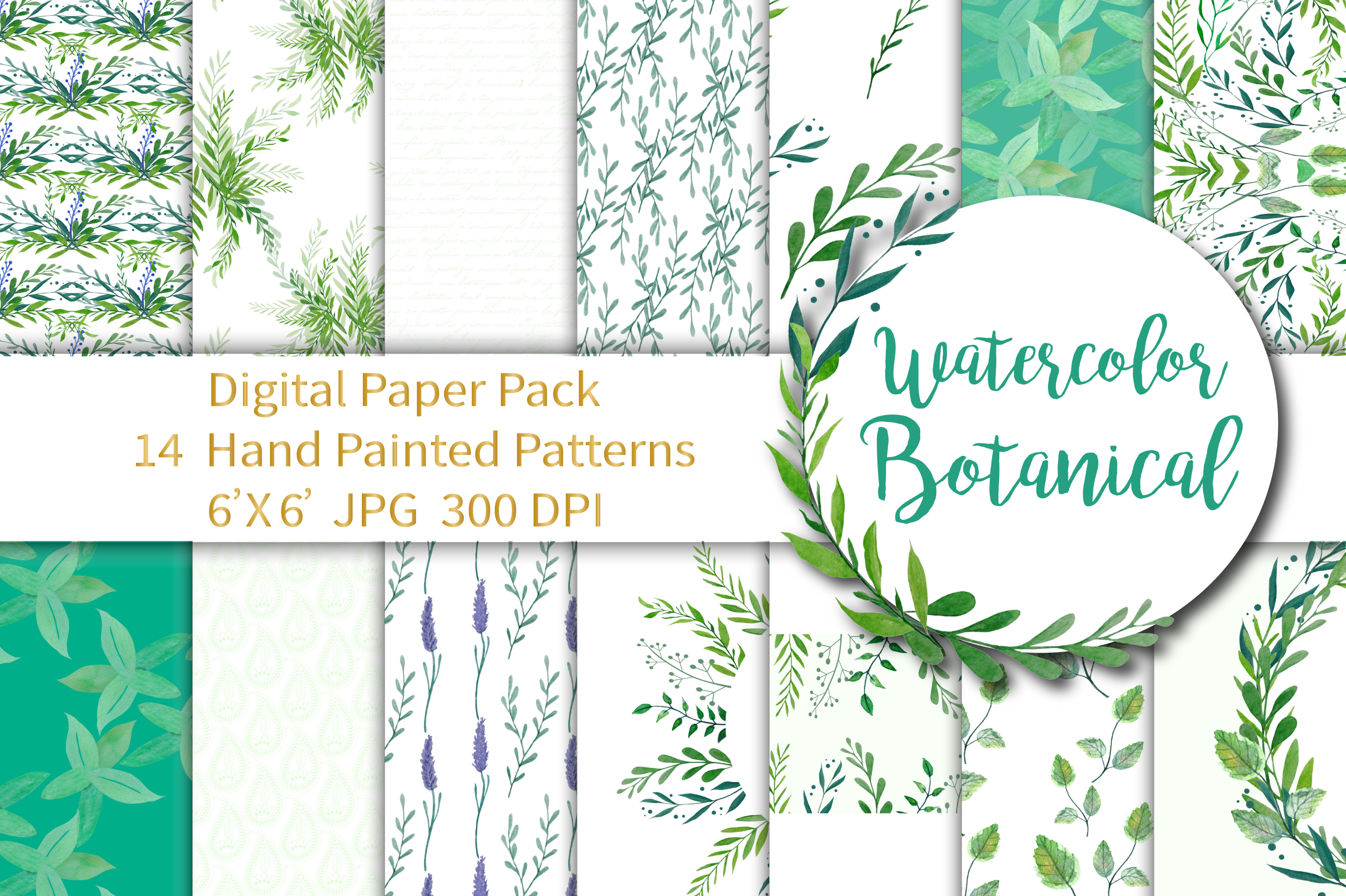 Watercolor Botanical Digital Paper example image 1