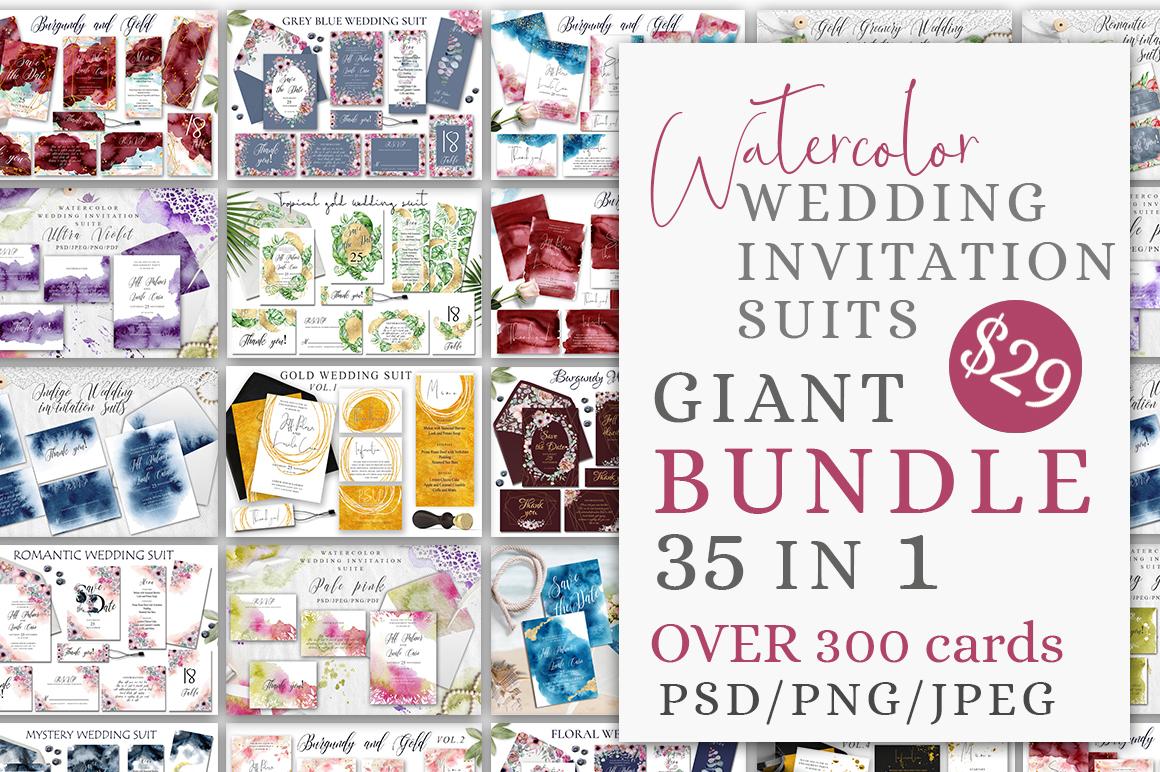 Watercolor Wedding Invitations Suits. GIANT BUNDLE example image 1