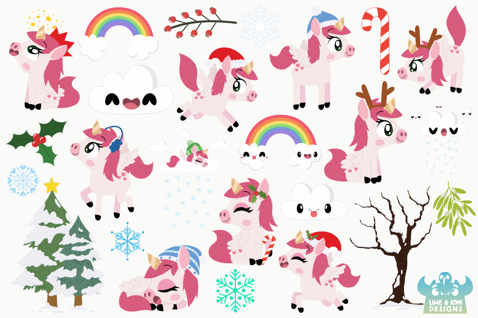 Christmas Unicorns 3 Clipart, Instant Download Vector Art example image 2