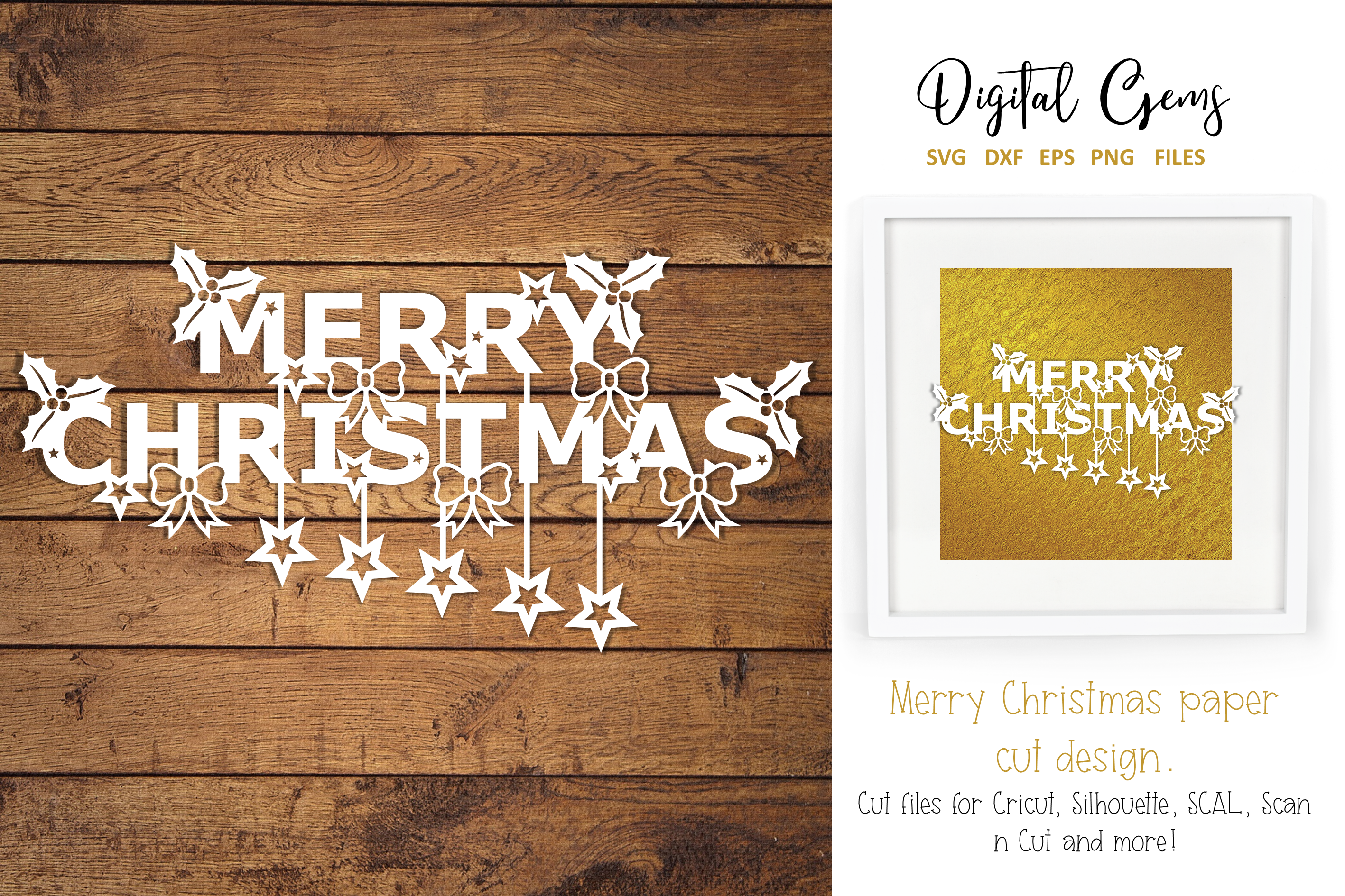 Merry Christmas paper cut SVG / DXF / EPS files example image 2