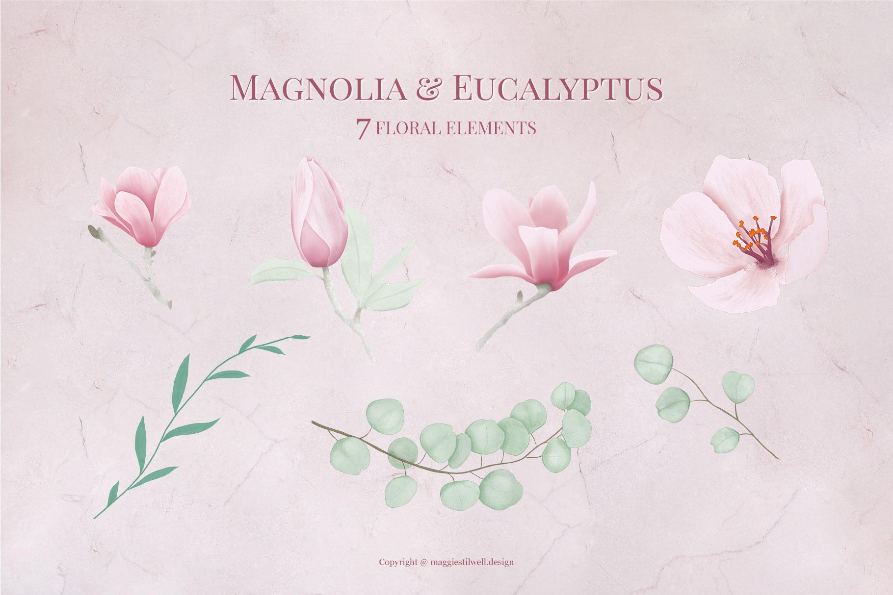 Magnolia & Eucalyptus Floral Alphabet example image 4