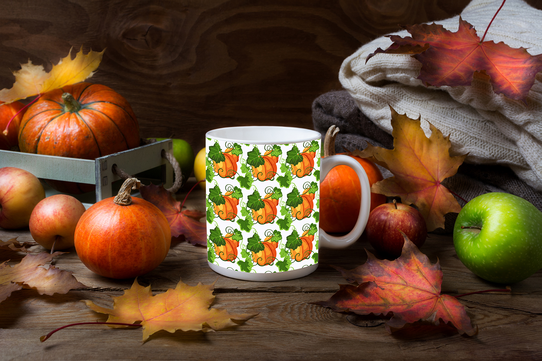 White coffee mug mockup with fall leaves, pumpkins example image 2