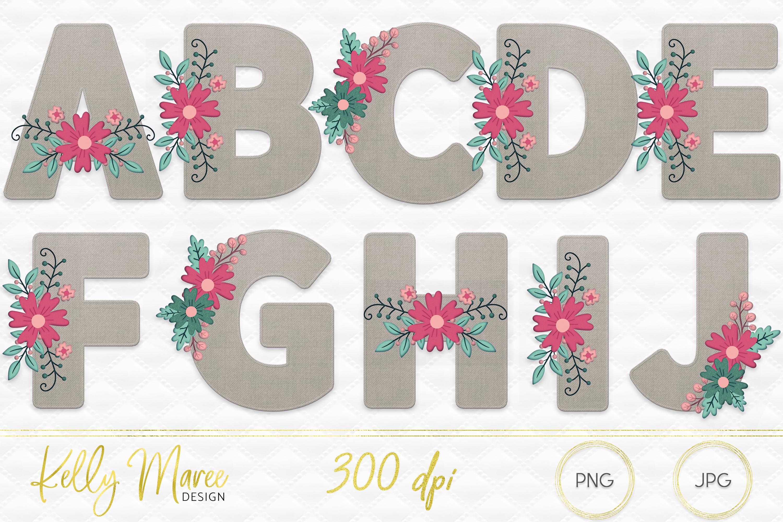 Canvas & Floral Alphabet Graphic Bundle example image 2