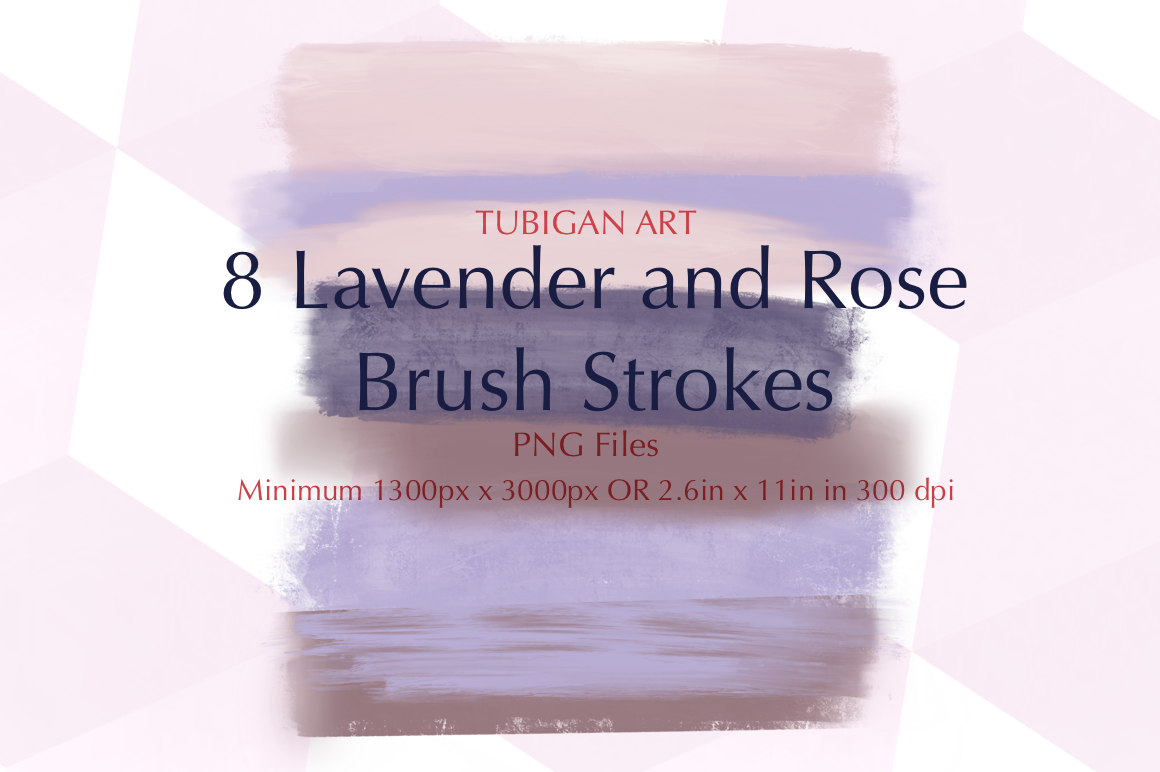 8PNG Lavender and Rose Brush Strokes example image 1