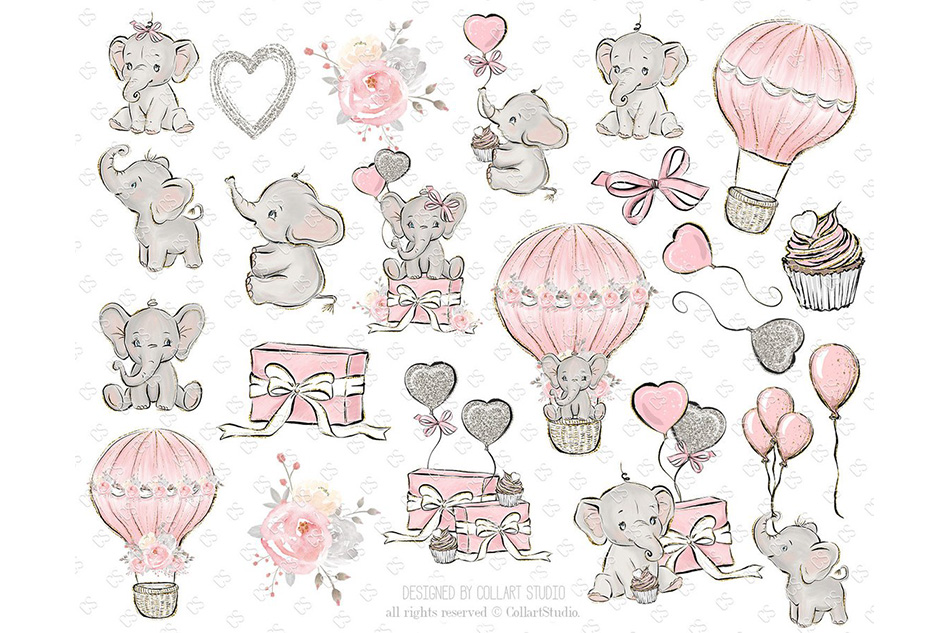 Baby Elephant clipart, Baby boy baby girl clipart, birthday example image 4