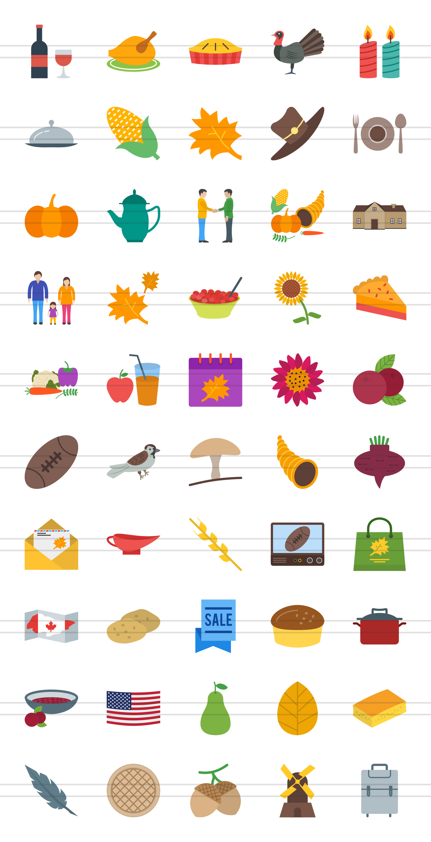 50 Thanksgiving Flat Multicoolor Icons example image 2