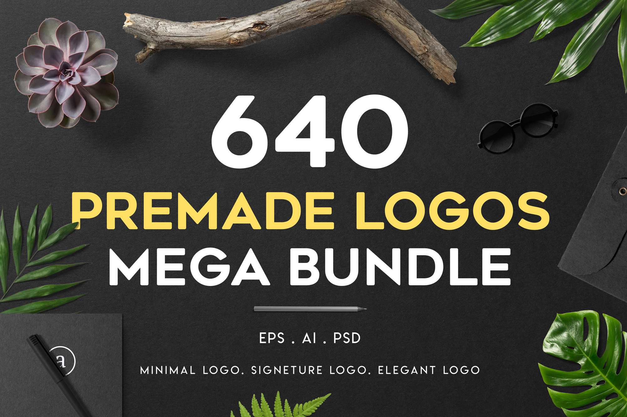 640 Premade Logos Mega Bundle example image 1
