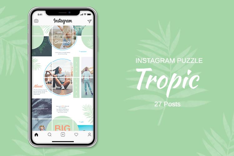 Instagram Puzzle Template - Tropic example image 1