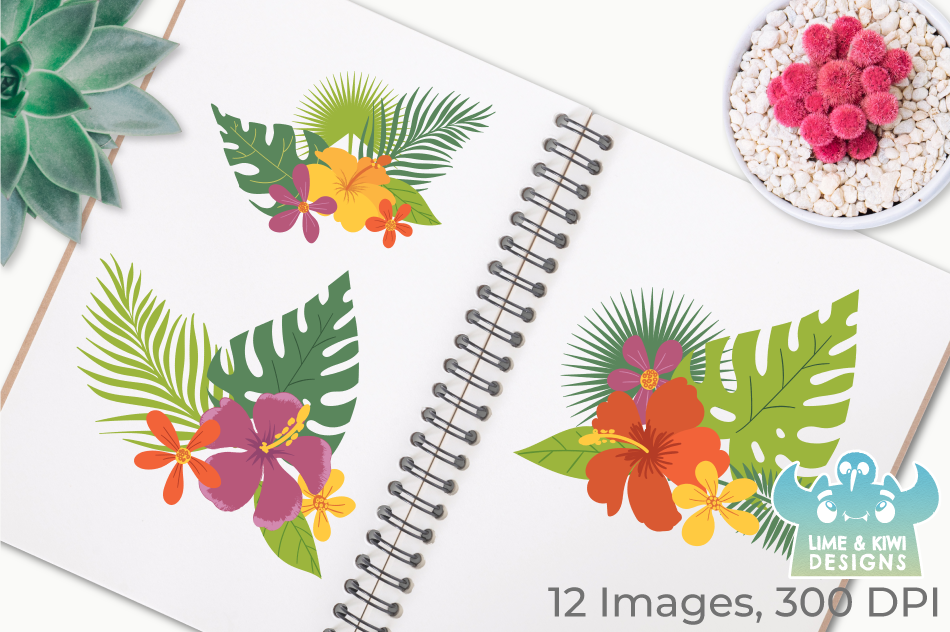 Tropical Flowers Clipart, Instant Download Vector Art example image 3