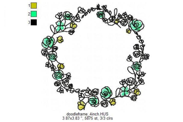 Doodle Floral Wreath monogram font border frame in 3 sizes example image 7