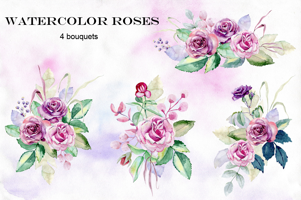 Watercolor roses. Set. example image 2