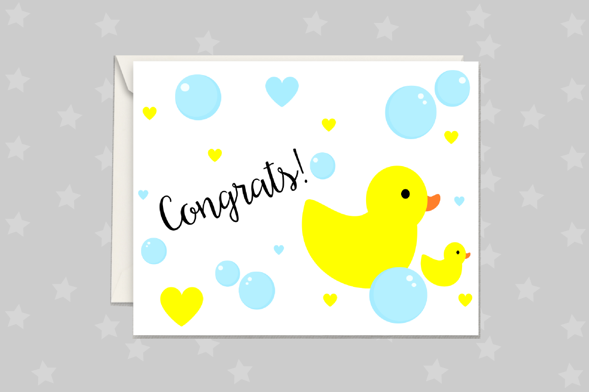 New Baby Card, Rubber Duck Greeting Card Printable example image 1