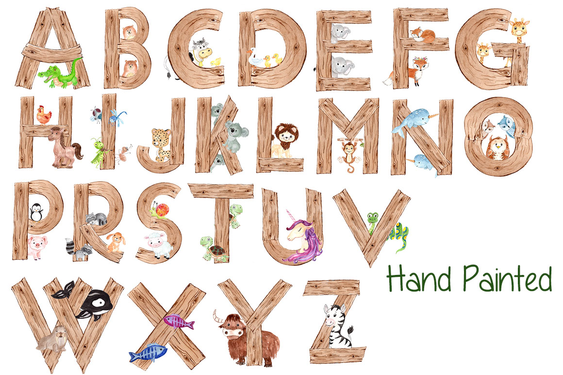 Watercolor animal alphabet clipart example image 2