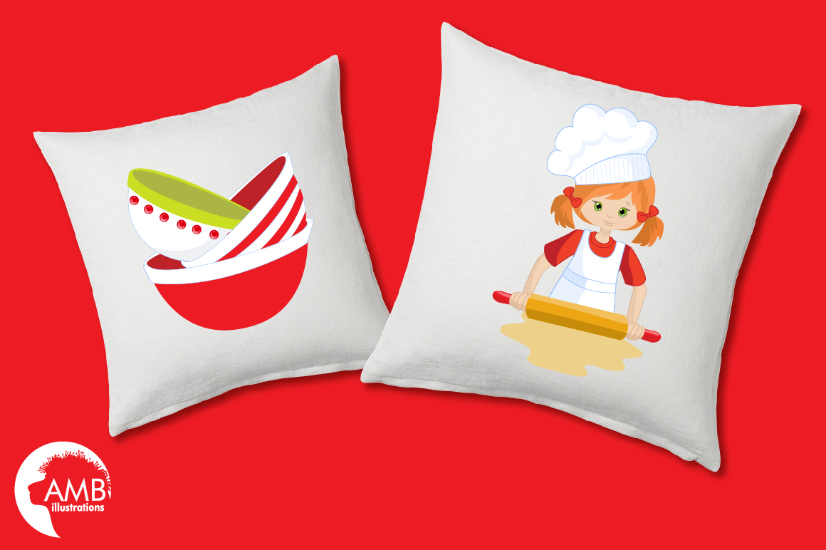 Baking clipart, cooking clipart, Girl chefs clipart, graphics and illustrations AMB-1102 example image 3