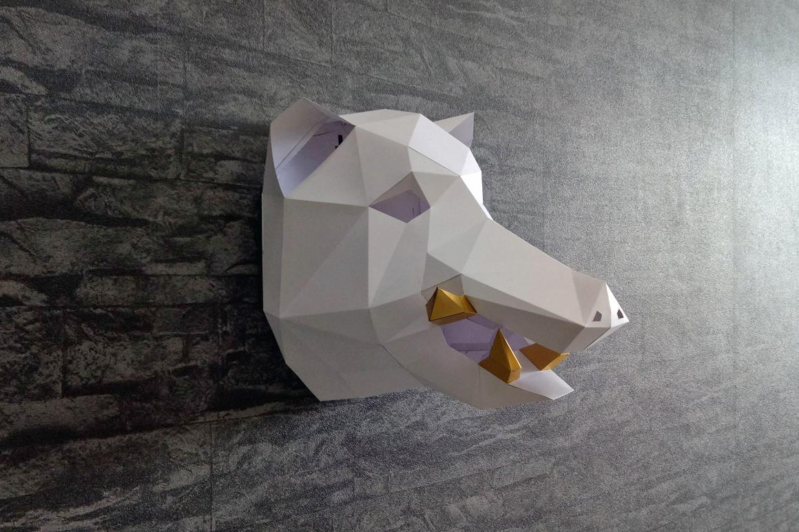 DIY Boar Trophy - 3d papercraft example image 4