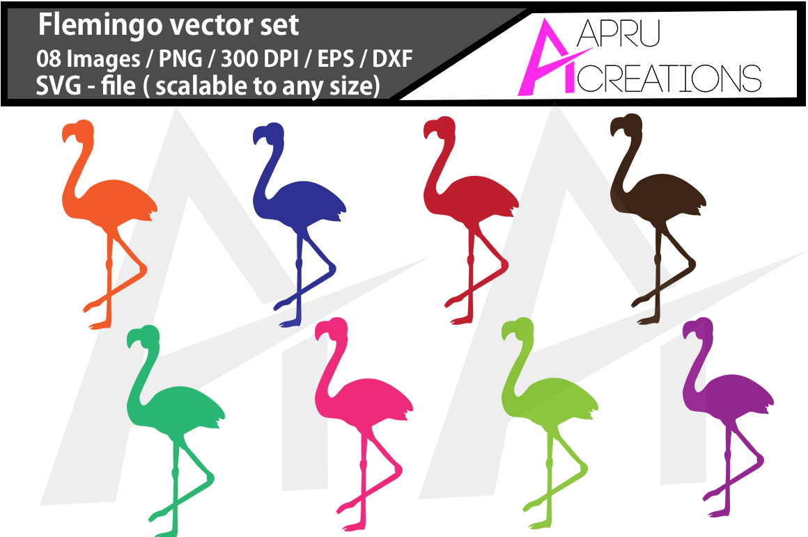 Flemingo SVG cut file / coloured Flemingo cut file / Flemingo silhouette vector  example image 1