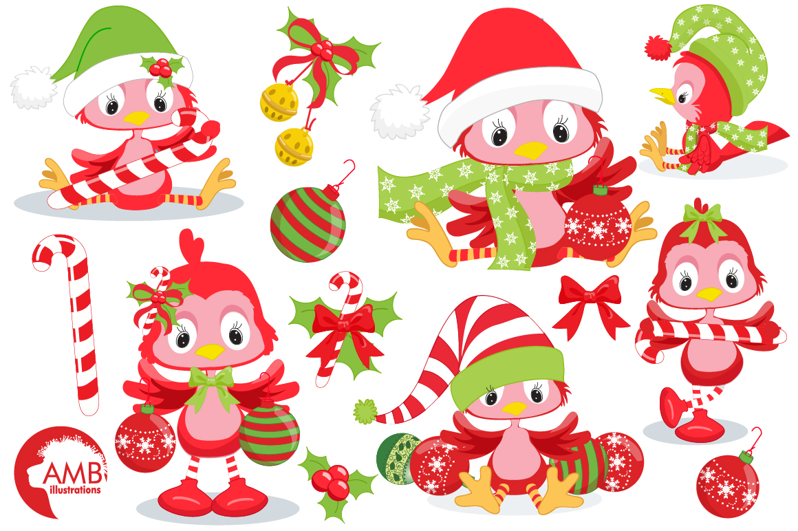 Christmas red birds clipart, graphics, illustrations AMB-193 example image 5