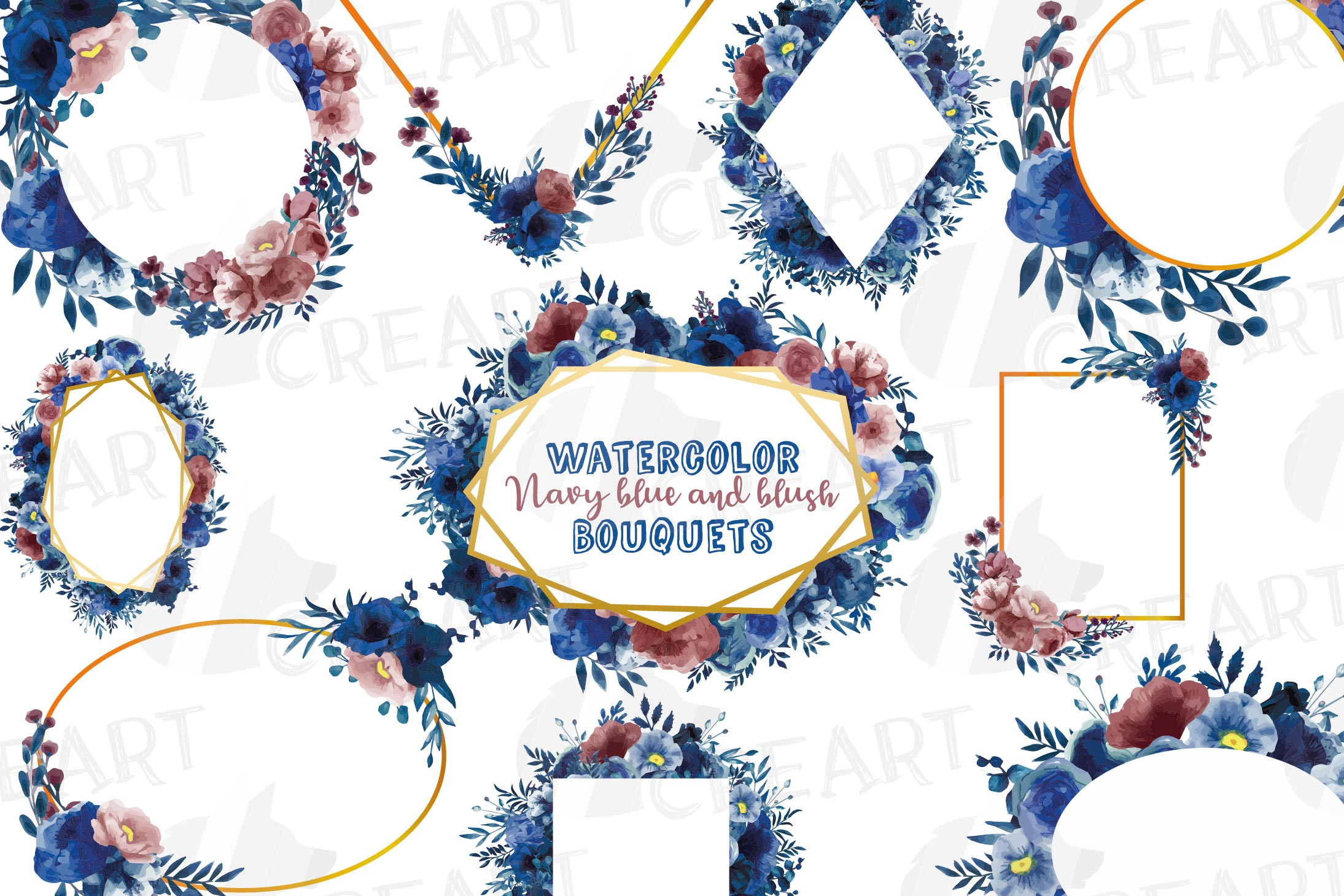 Watercolor elegant navy blue and blush floral borders vector example image 1