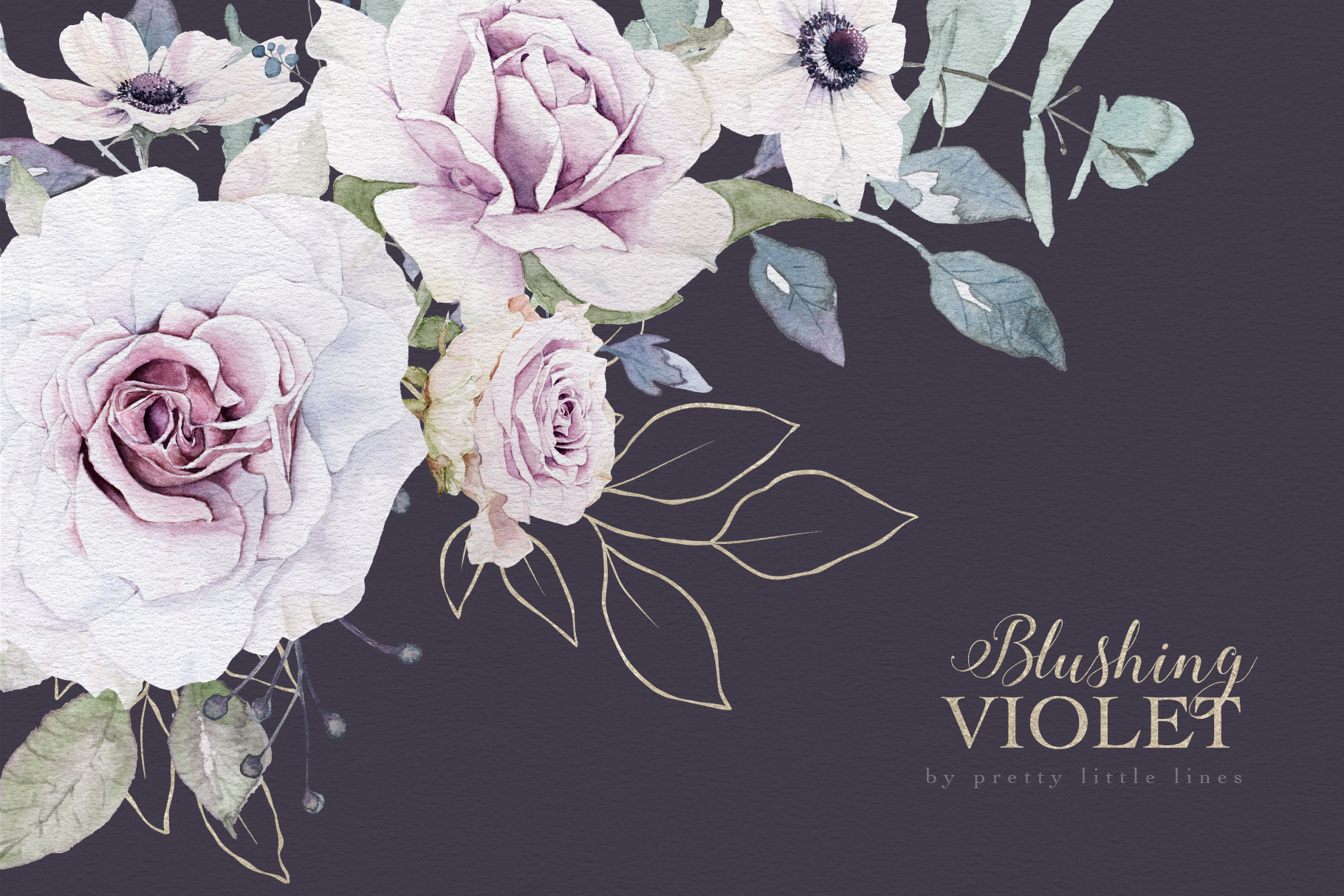 Blushing Violet Watercolor Clipart Collection example image 12