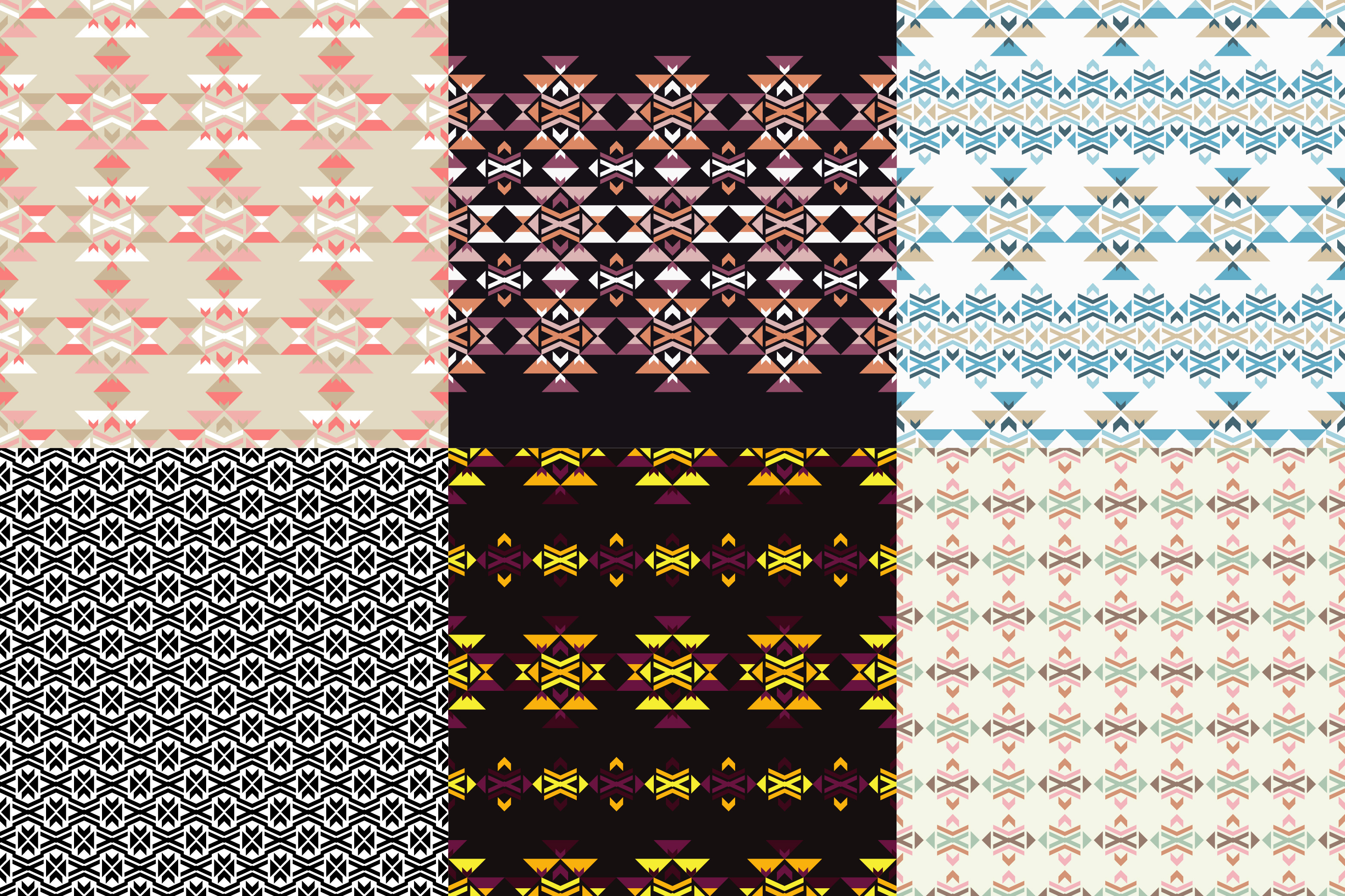 Set of 6 Ethnic boho seamless pattern. Tribal pattern.  example image 1