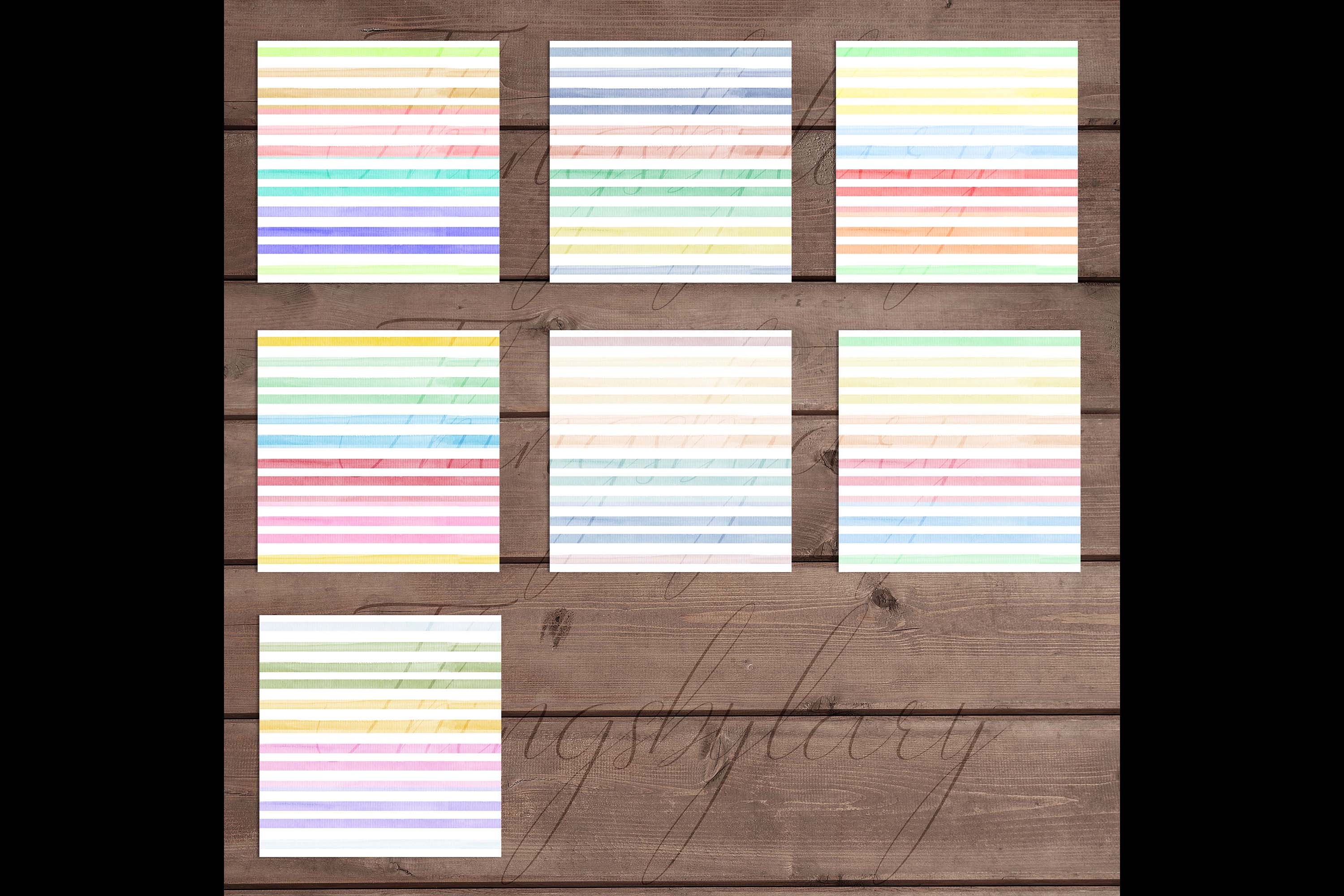 16 Seamless Watercolor Pastel Rainbow Ombre Stripes Papers example image 10