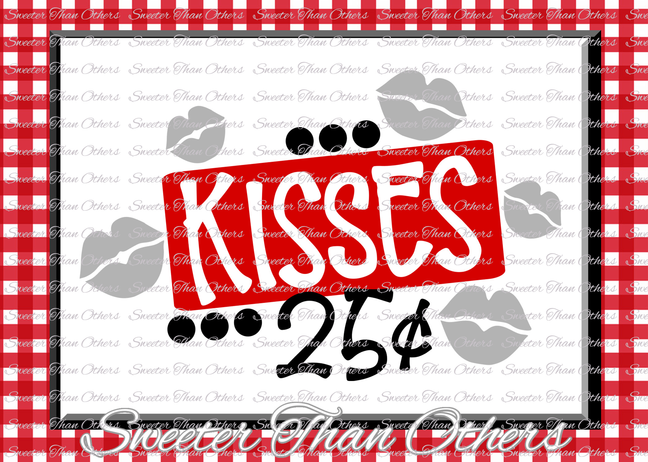 Kisses 25 cents Svg Silhouette Valentines svg example image 1