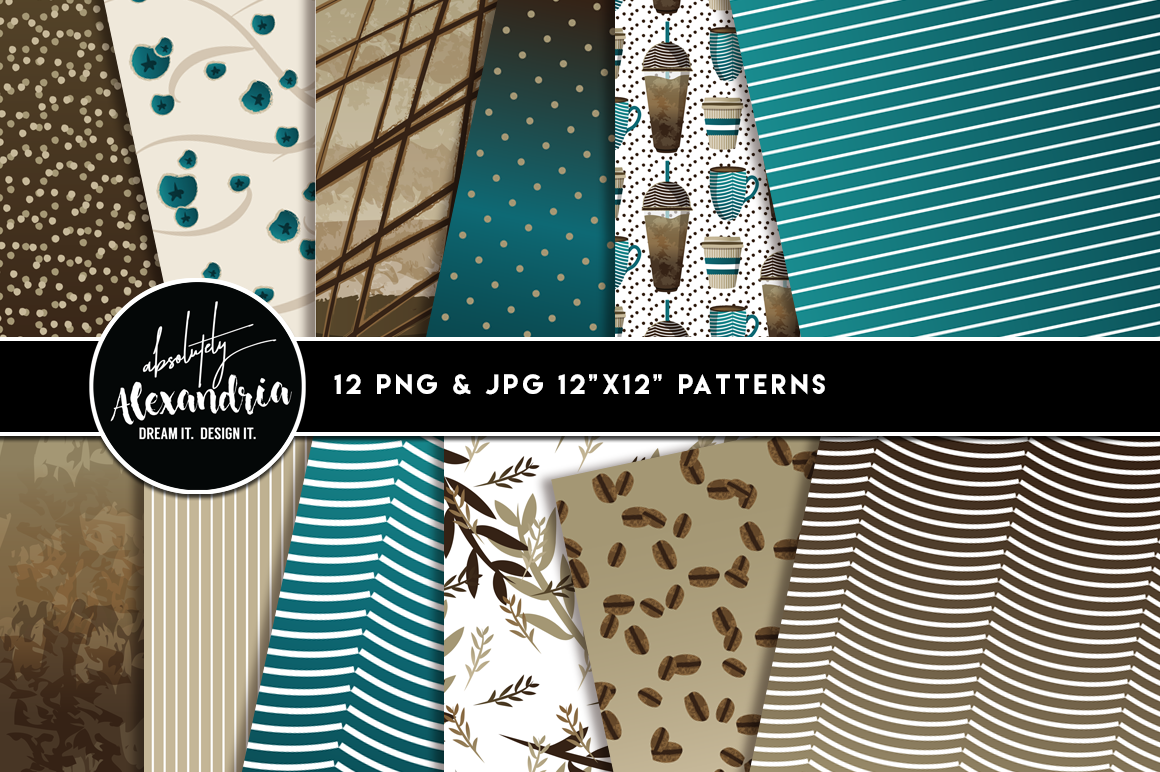 Corner Cup Coffee Clipart Graphics & Digital Paper Patterns Bundle example image 2