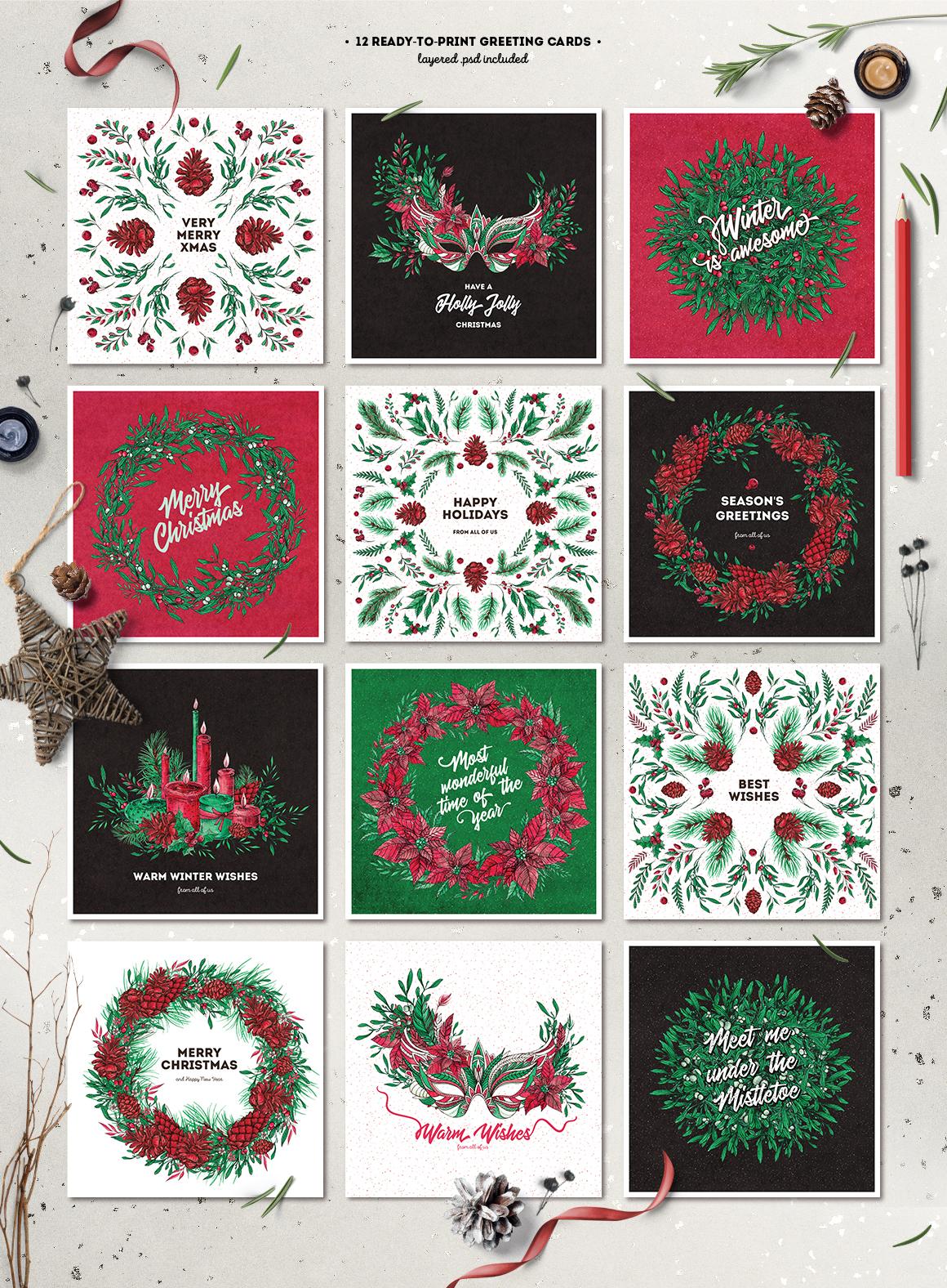 Inky Christmas Huge DIY Set example image 4