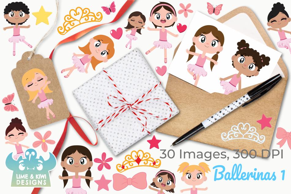 Ballerinas 1 Clipart, Instant Download Vector Art example image 4