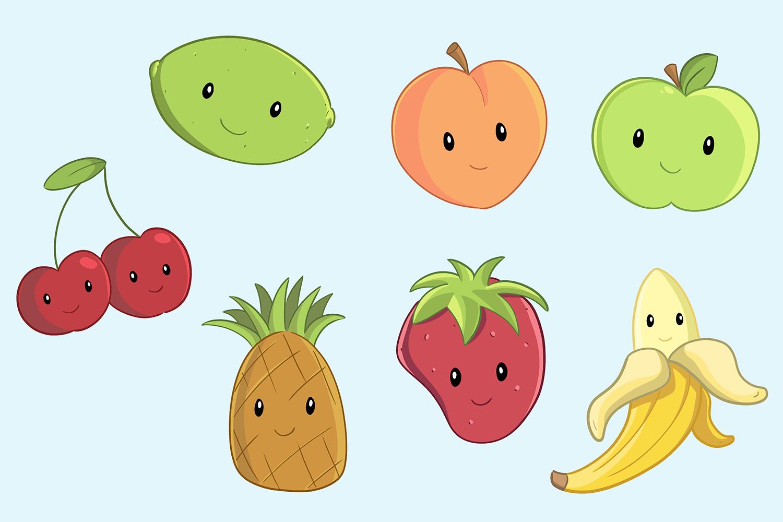 Cute Fruit Illustration Set example image 3