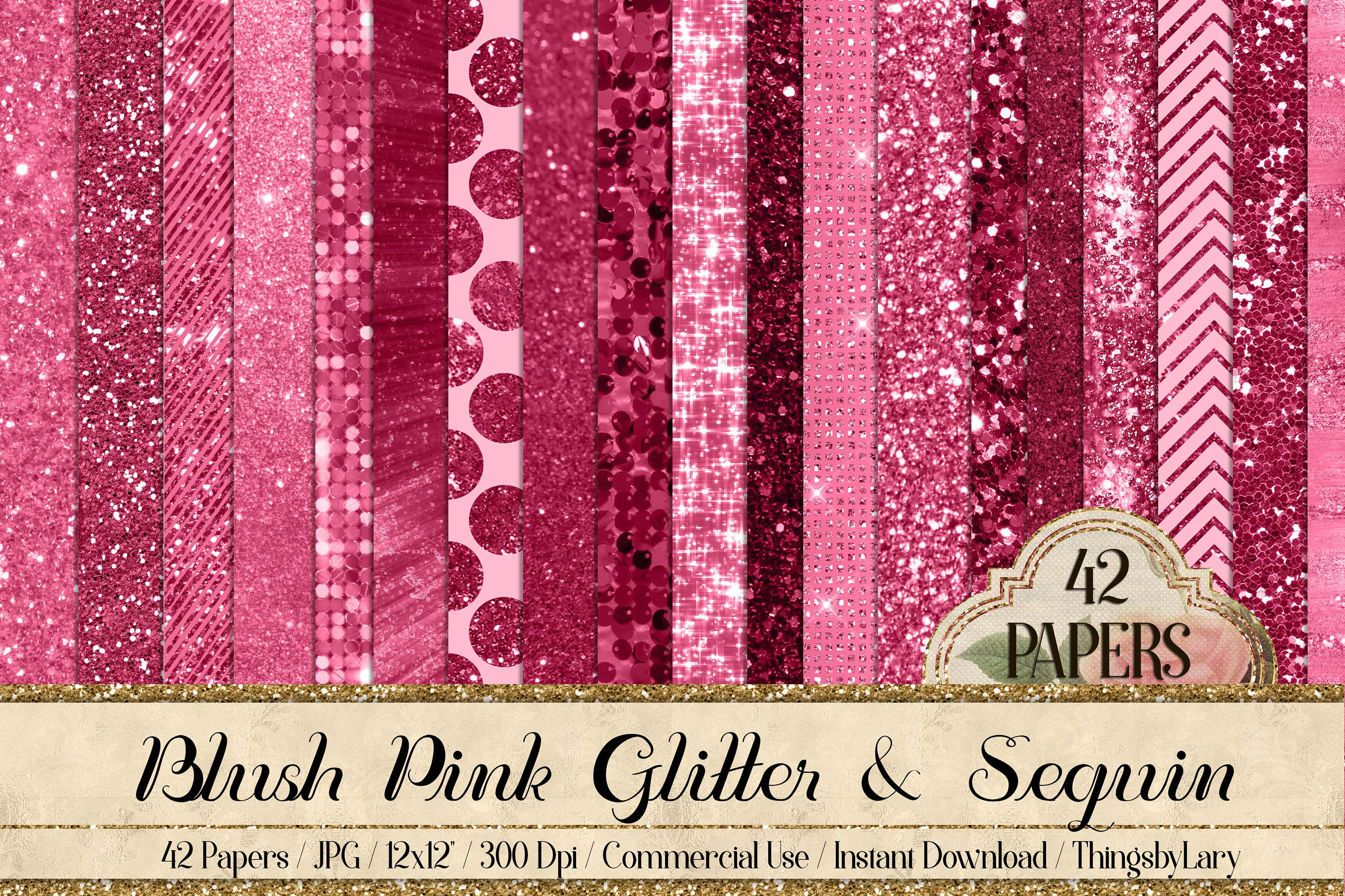 42 Blush Pink Princess Baby Glitter Sequin Digital Papers example image 1