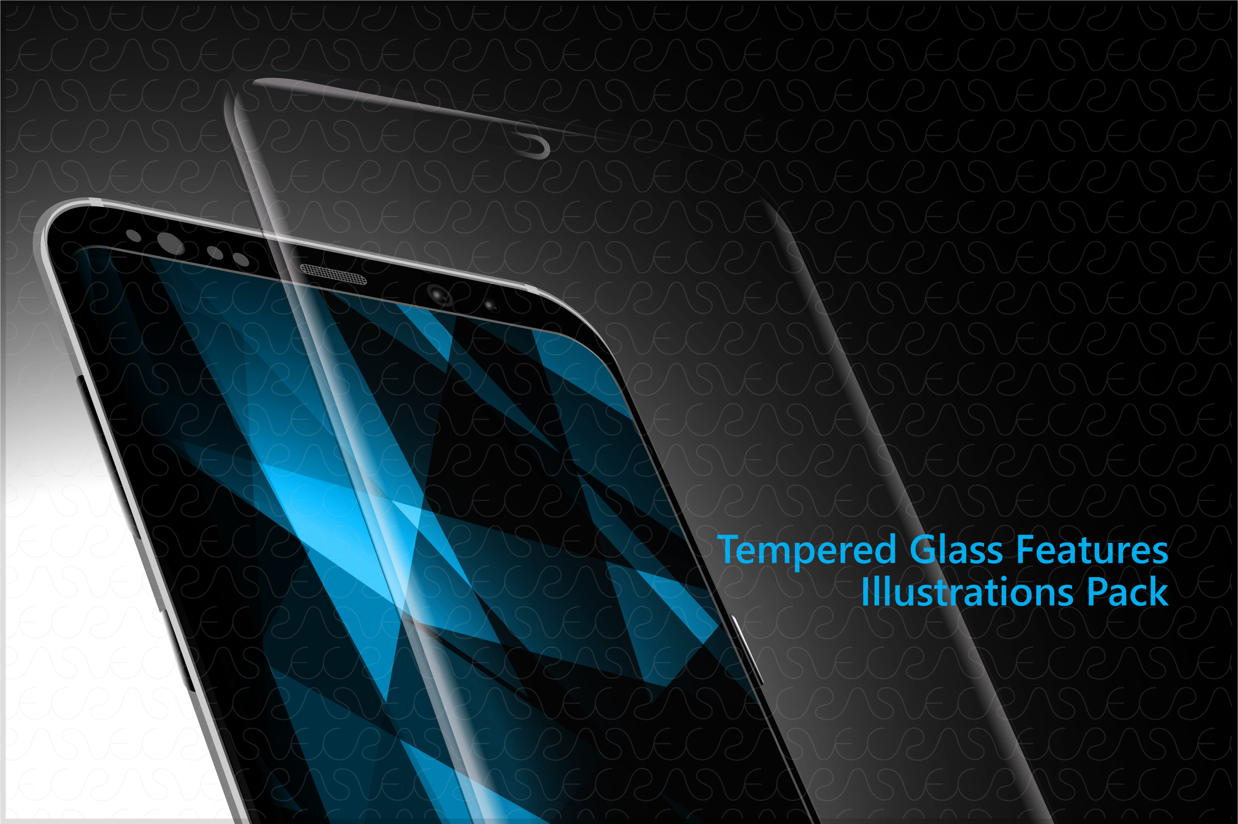 Tempered Glass Features Illustrations & Icons Pack example image 2