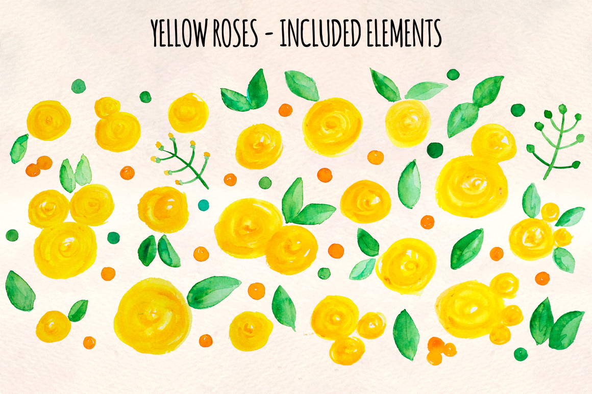 55 Bright Yellow Watercolour Roses, Leaves and Spots example image 3