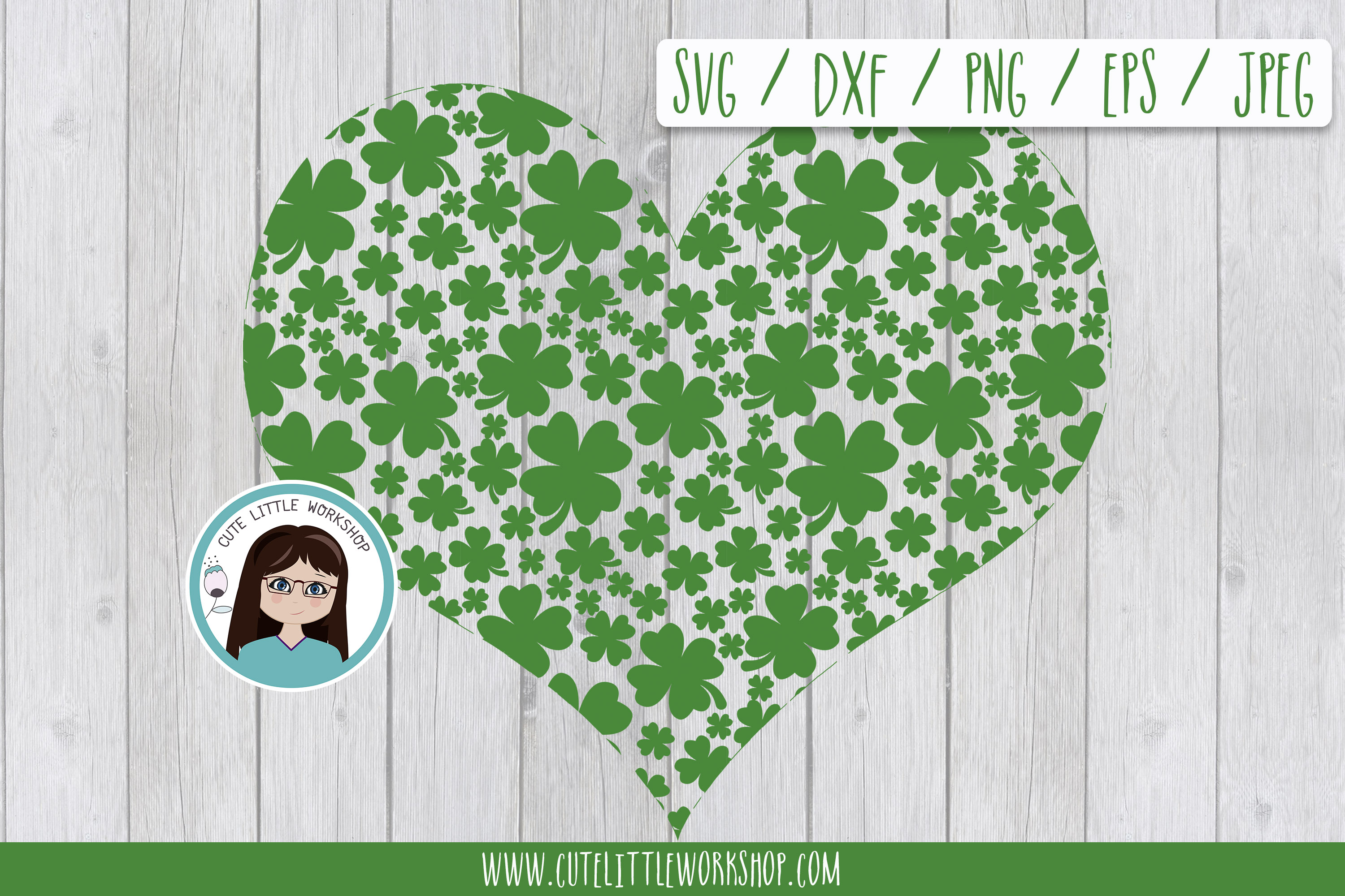 St. patricks's heart SVG DXF PNG JPEG EPS example image 1
